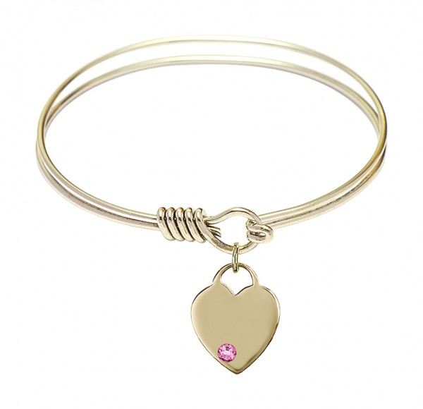Smooth Bangle Bracelet with a Heart Charm - Rose