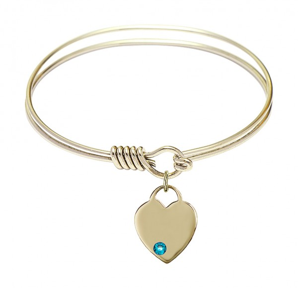 Smooth Bangle Bracelet with a Heart Charm - Zircon