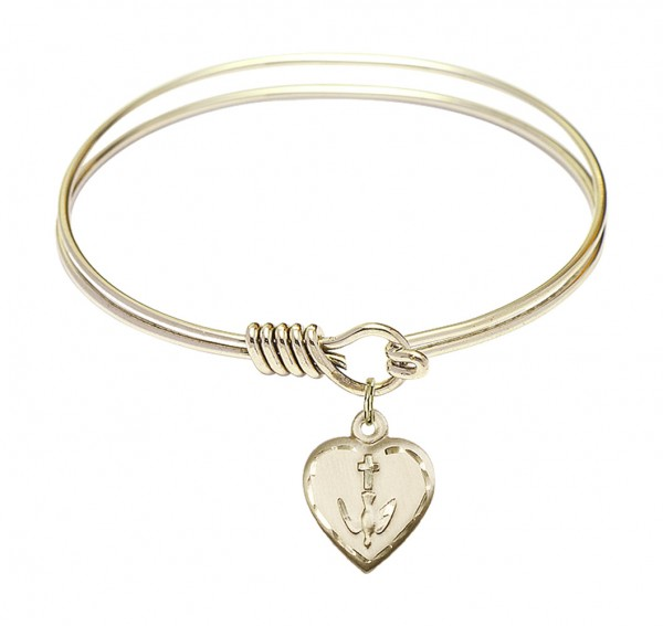 Smooth Bangle Bracelet with a Heart Confirmation Charm - Gold