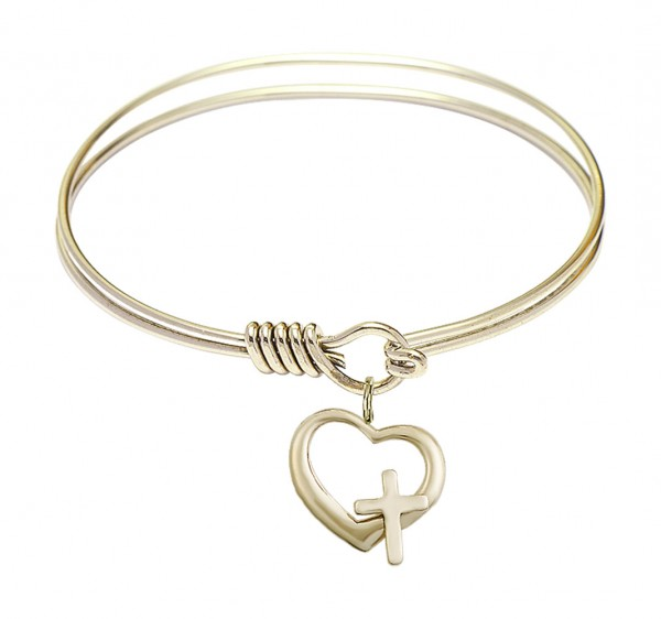 Smooth Bangle Bracelet with a Heart and Cross Charm - Gold