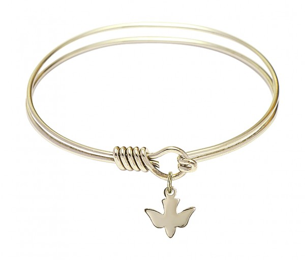 Smooth Bangle Bracelet with a Holy Spirit Dove Charm - Gold