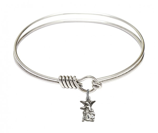 Smooth Bangle Bracelet with a Littlest Angel Charm - Silver