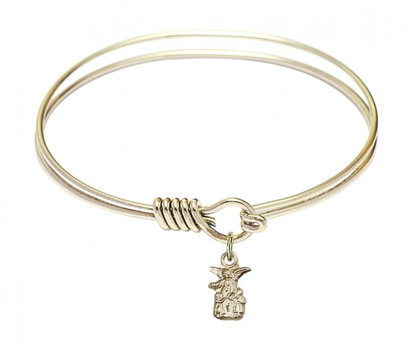 Smooth Bangle Bracelet with a Littlest Angel Charm - Gold