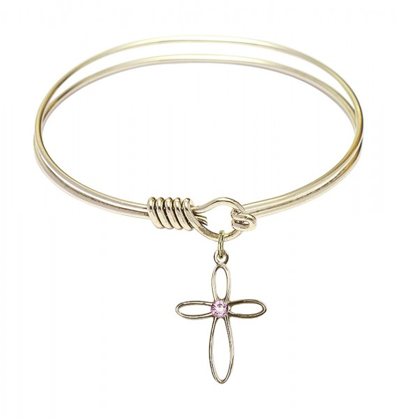 Smooth Bangle Bracelet with a Loop Cross Charm - Light Amethyst