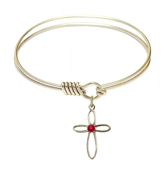 Smooth Bangle Bracelet with a Loop Cross Charm - Ruby Red