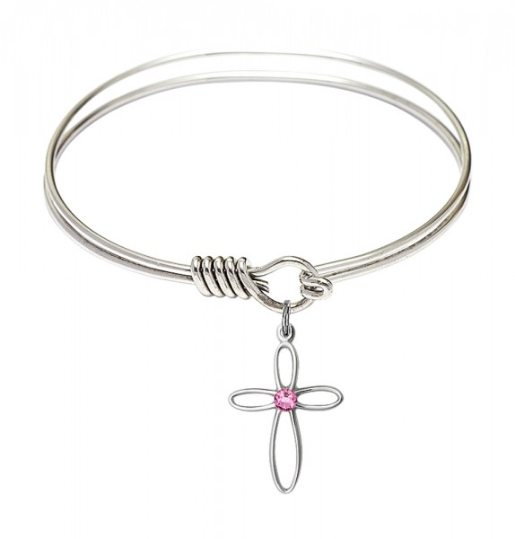 Smooth Bangle Bracelet with a Loop Cross Charm - Rose
