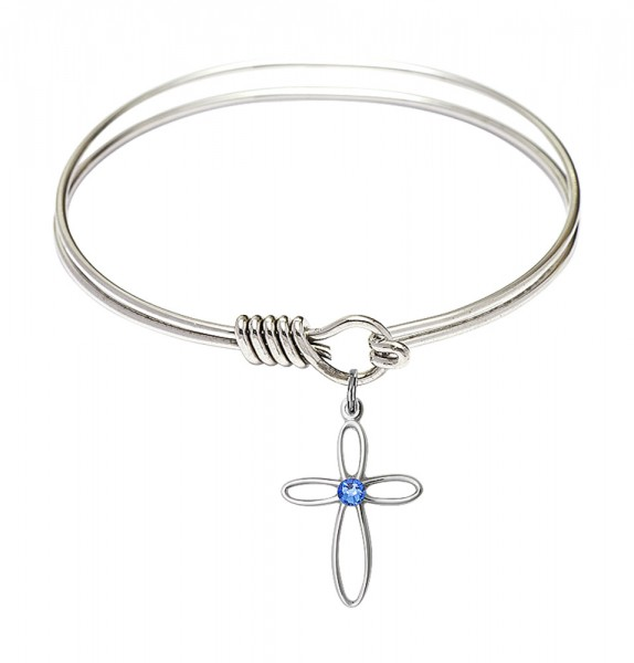Smooth Bangle Bracelet with a Loop Cross Charm - Sapphire