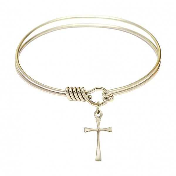 Smooth Bangle Bracelet with a Maltese Cross Charm - Gold
