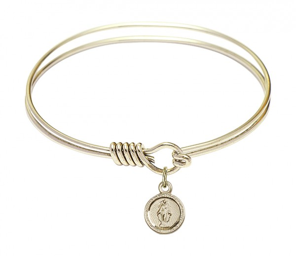 Smooth Bangle Bracelet with a Miraculous Charm - Gold