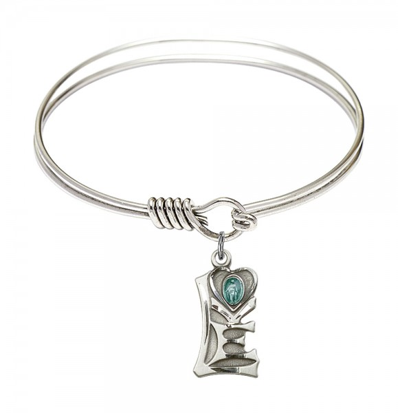 Smooth Bangle Bracelet with a Miraculous Charm - Silver