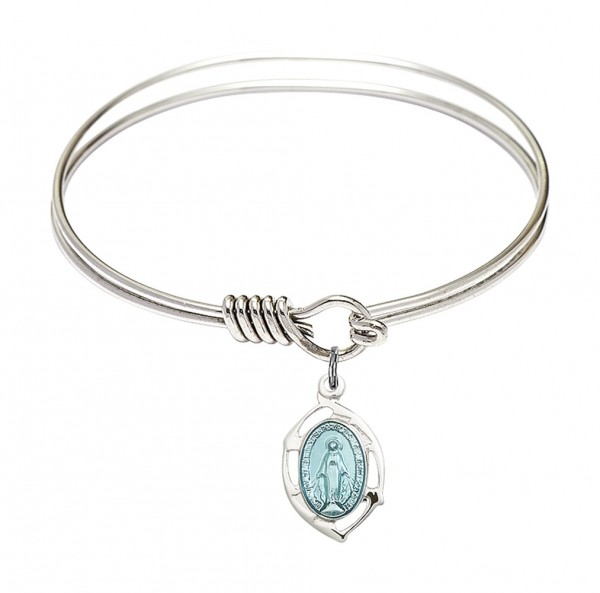Smooth Bangle Bracelet with a Miraculous Leaf Charm - Silver