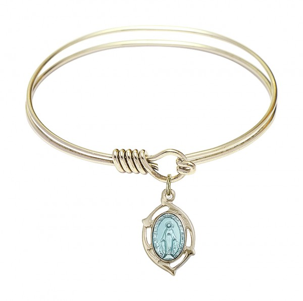 Smooth Bangle Bracelet with a Miraculous Leaf Charm - Gold