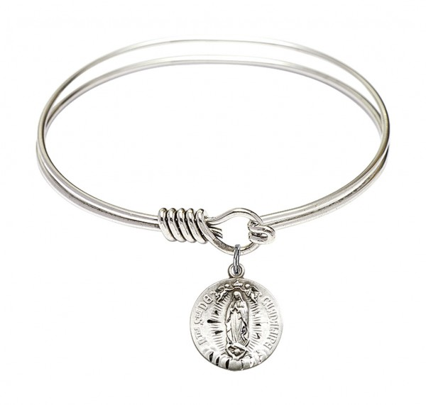 Smooth Bangle Bracelet with Our Lady of Guadalupe Charm - Silver