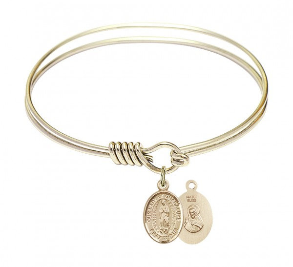 Smooth Bangle Bracelet with Our Lady of Guadalupe Charm - Gold