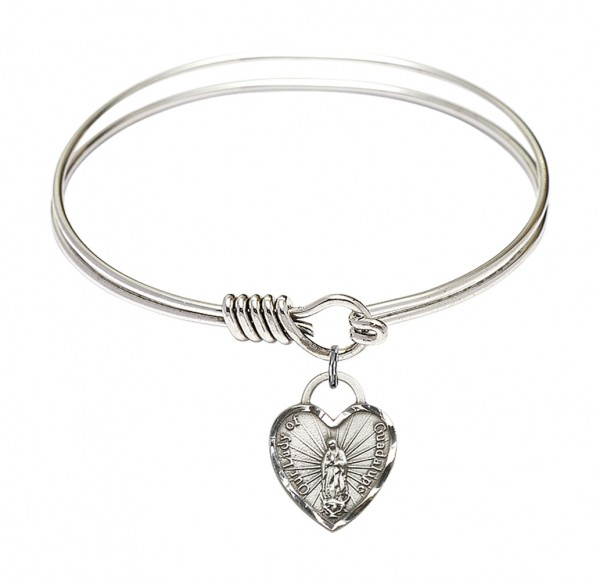 Smooth Bangle Bracelet with Our Lady of Guadalupe Heart Charm - Silver