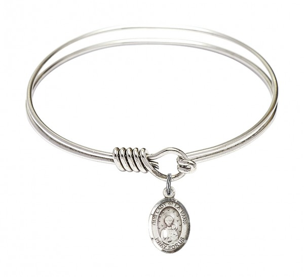 Smooth Bangle Bracelet with Our Lady of la Vang Charm - Silver