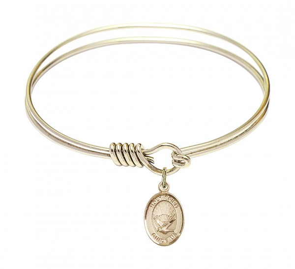 Smooth Bangle Bracelet with a Oval Holy Spirit Charm - Gold