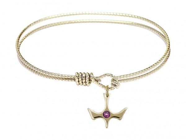 Cable Bangle Bracelet with a Petite Holy Spirit Charm and Birthstone - Amethyst