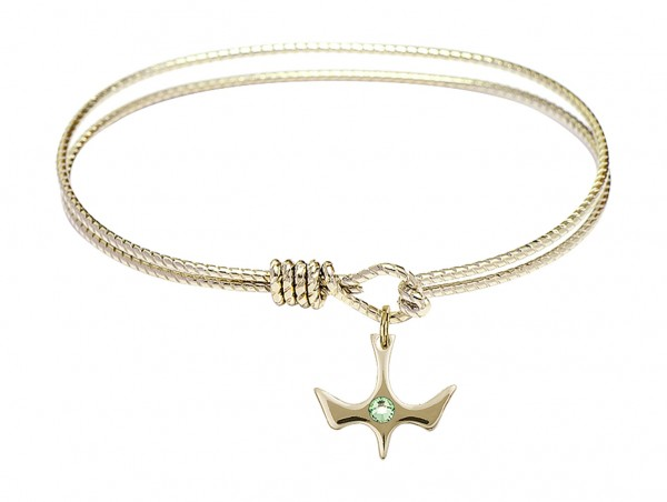 Cable Bangle Bracelet with a Petite Holy Spirit Charm and Birthstone - Peridot