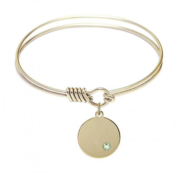 Smooth Bangle Bracelet with a Plain Disc Charm - Peridot