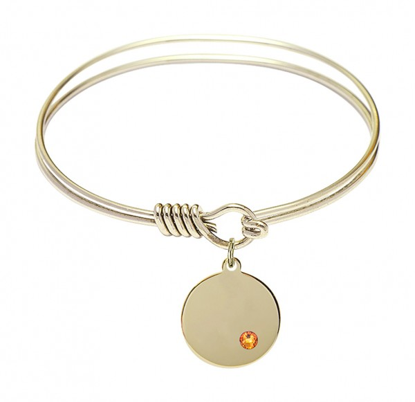 Smooth Bangle Bracelet with a Plain Disc Charm - Topaz