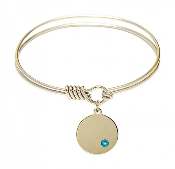 Smooth Bangle Bracelet with a Plain Disc Charm - Zircon