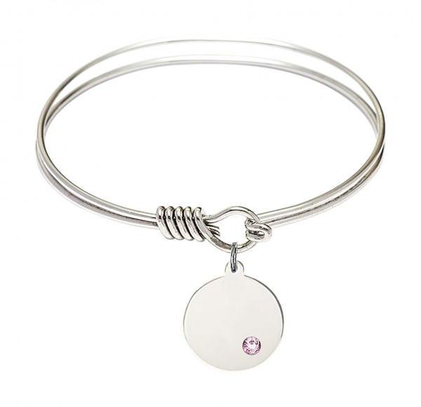 Smooth Bangle Bracelet with a Plain Disc Charm - Light Amethyst