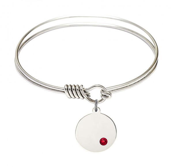 Smooth Bangle Bracelet with a Plain Disc Charm - Ruby Red