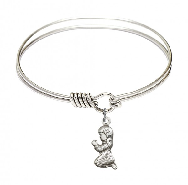 Smooth Bangle Bracelet with a Praying Girl Charm - Silver