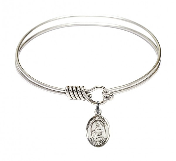 Smooth Bangle Bracelet with a Saint Agnes of Rome Charm - Silver