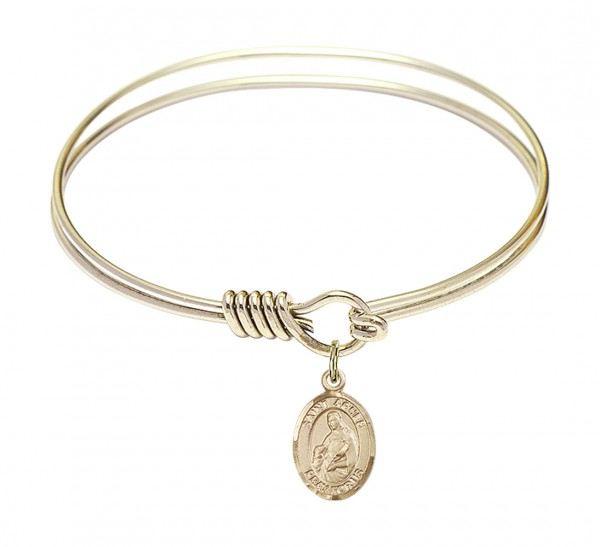 Smooth Bangle Bracelet with a Saint Agnes of Rome Charm - Gold