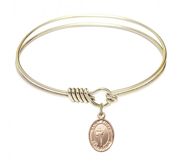 Smooth Bangle Bracelet with a Saint Aidan of Lindesfarne Charm - Gold