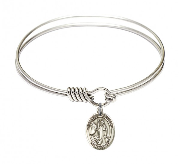 Smooth Bangle Bracelet with a Saint Anthony of Egypt Charm - Silver