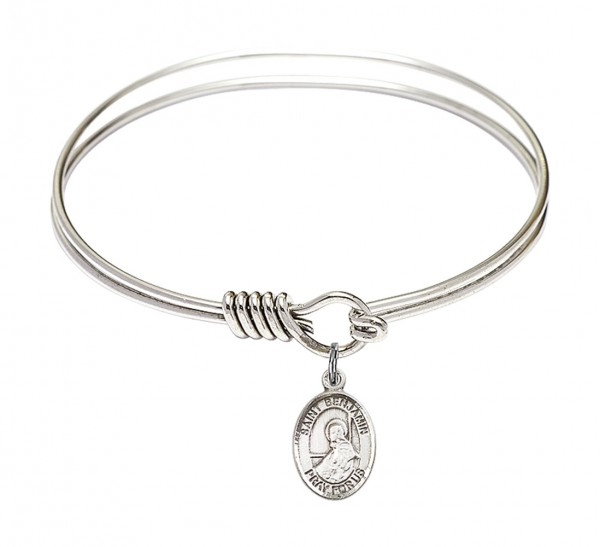Smooth Bangle Bracelet with a Saint Benjamin Charm - Silver
