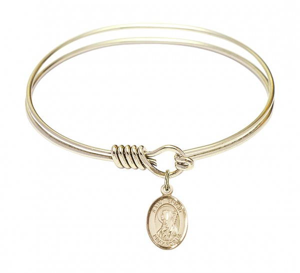 Smooth Bangle Bracelet with a Saint Brigid of Ireland Charm - Gold