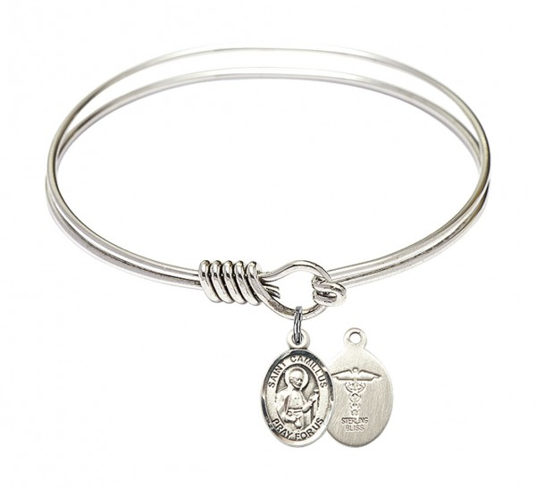 Smooth Bangle Bracelet with a Saint Camillus of Lellis Doctors Charm - Silver