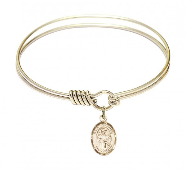 Smooth Bangle Bracelet with a Saint Casimir of Poland Charm - Gold