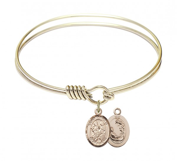 Smooth Bangle Bracelet with a Saint Cecilia Marching Band Charm - Gold