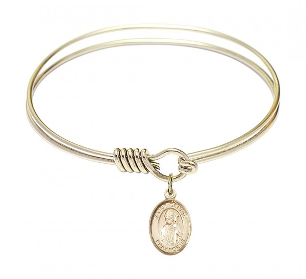 Smooth Bangle Bracelet with a Saint Dennis Charm - Gold