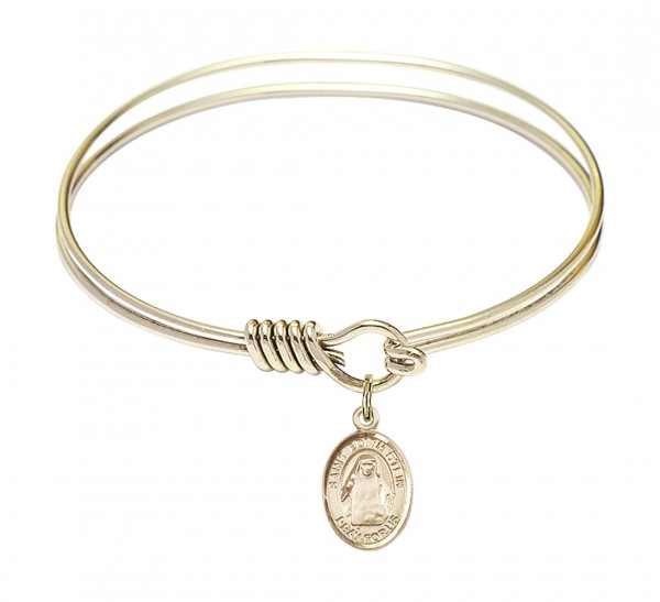 Smooth Bangle Bracelet with a Saint Edith Stein Charm - Gold