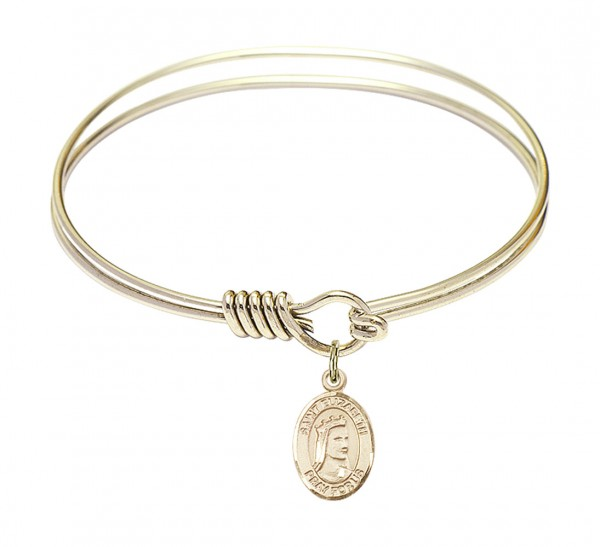 Smooth Bangle Bracelet with a Saint Elizabeth of Hungary Charm - Gold