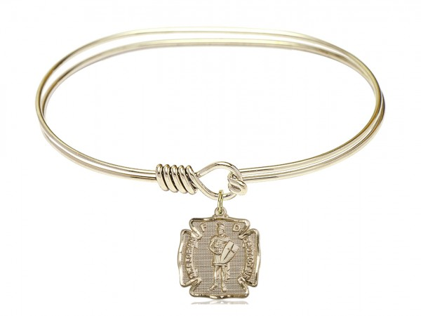 Smooth Bangle Bracelet with a Saint Florian Charm - Gold
