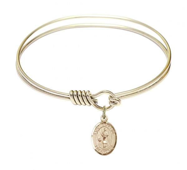 Smooth Bangle Bracelet with a Saint Genesius of Rome Charm - Gold