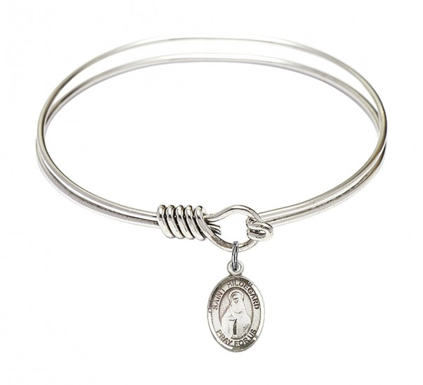 Smooth Bangle Bracelet with a Saint Hildegard von Bingen Charm - Silver
