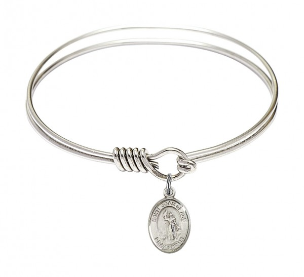 Smooth Bangle Bracelet with a Saint Joan of Arc Charm - Silver