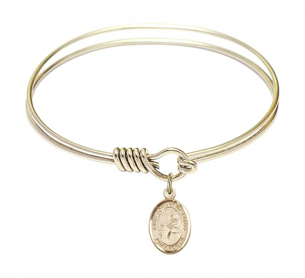 Smooth Bangle Bracelet with a Saint John of the Cross Charm - Gold