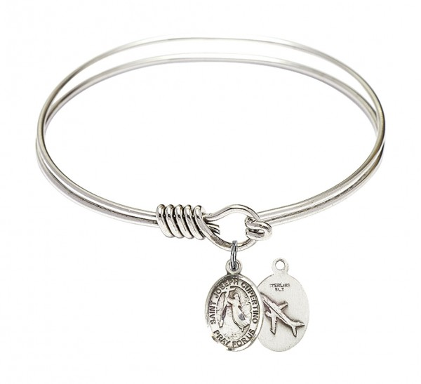 Smooth Bangle Bracelet with a Saint Joseph of Cupertino Charm - Silver