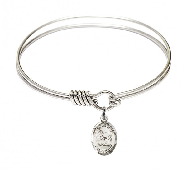 Smooth Bangle Bracelet with a Saint Joshua Charm - Silver