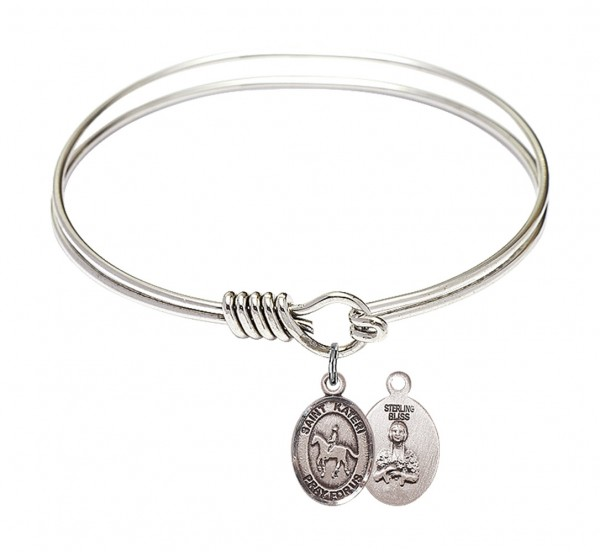 Smooth Bangle Bracelet with a Saint Kateri Equestrian Charm - Silver