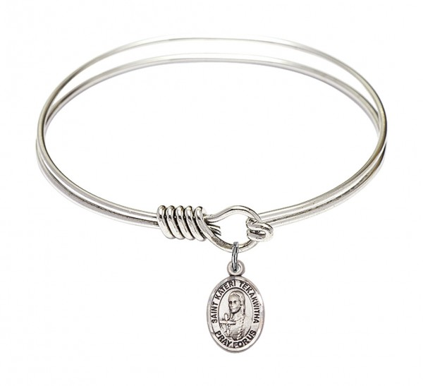 Smooth Bangle Bracelet with a Saint Kateri Tekakwitha Charm - Silver